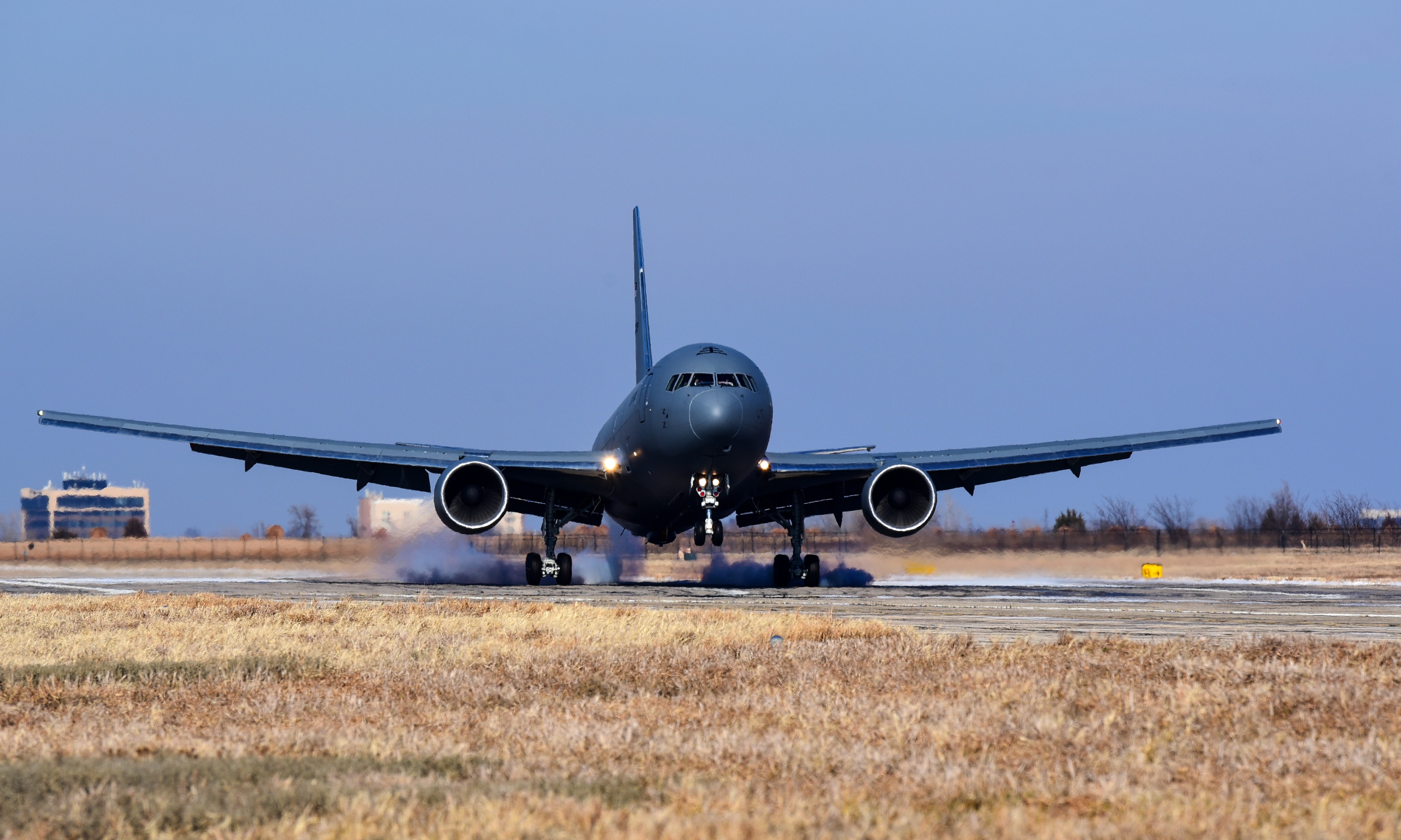 The first KC-46A Pegasus lands on the flightline Jan. 25, 2019, at McConnell Air Force Base, Kansas. (U.S. Air Force photo by Airman 1st Class Alan Ricker)