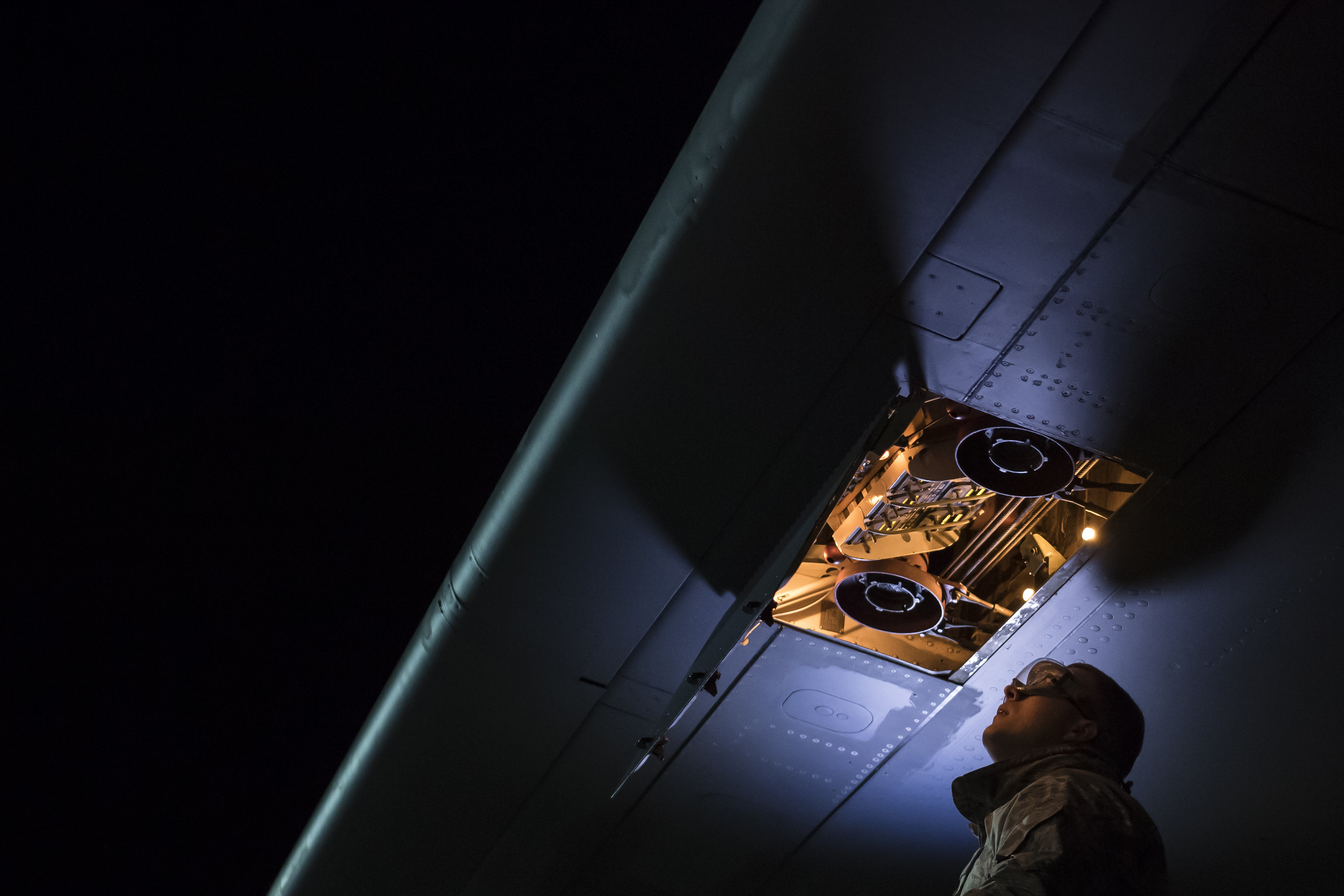 Senior Airman Tyler Sutlovich, 911th Airlift Wing, 911th Maintenance Squadron, Pittsburgh, Pa. does a quick inspection before refueling a KC-10 Extender May 15, 2019. Sutlovich is taking part in a test run of an all-systems maintenance program that would increase efficiency on the filghtline. (U.S. Air Force photo by Christian DeLuca)
