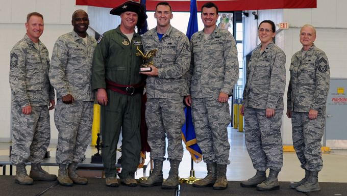 Staff Sgt. Billy Mitchell, a maintainer with the 927th Aircraft Maintenance Squadron, MacDill Air Force Base, Fla., received the Flying Crew Chief of the Year Award, during a Knuckle Buster Award Ceremony held here, April 10